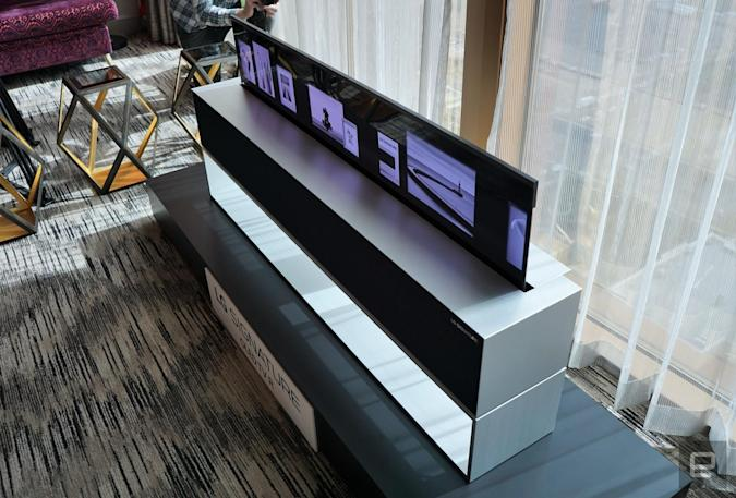 The LG rollable OLED TV is displayed in a hotel room during CES.