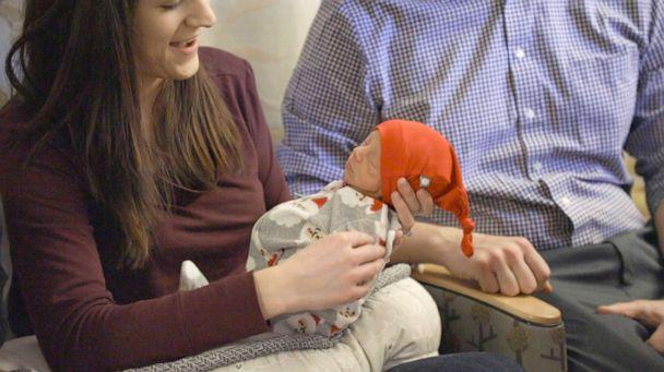 PHOTO: Newborn baby, Jack, is pictured in his Christmas onesie and red cap at UPMC Magee-Womens Hospital where Santa Claus visited him. (UPMC)
