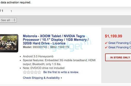 Motorola Xoom up for pre-order at Best Buy this Thursday... for $1,199? (update)