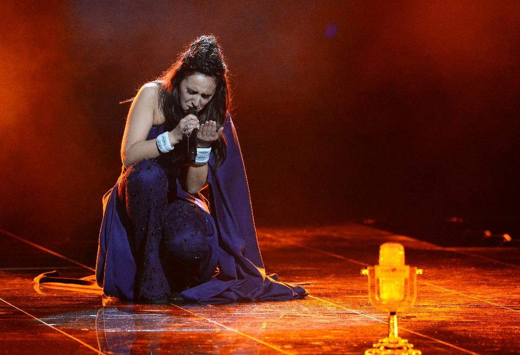"""After a tense vote count Jamala representing Ukraine was declared Eurovision 2016 winner after a heart-felt performance of """"1944"""", about the deportations of Crimean Tatars during World War II (AFP Photo/Jonathan Nackstrand)"""