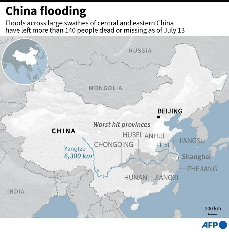 Map showing provinces worst hit by flooding in China that has left more than 140 people dead as of July 13, 2020 (AFP Photo/Laurence CHU)