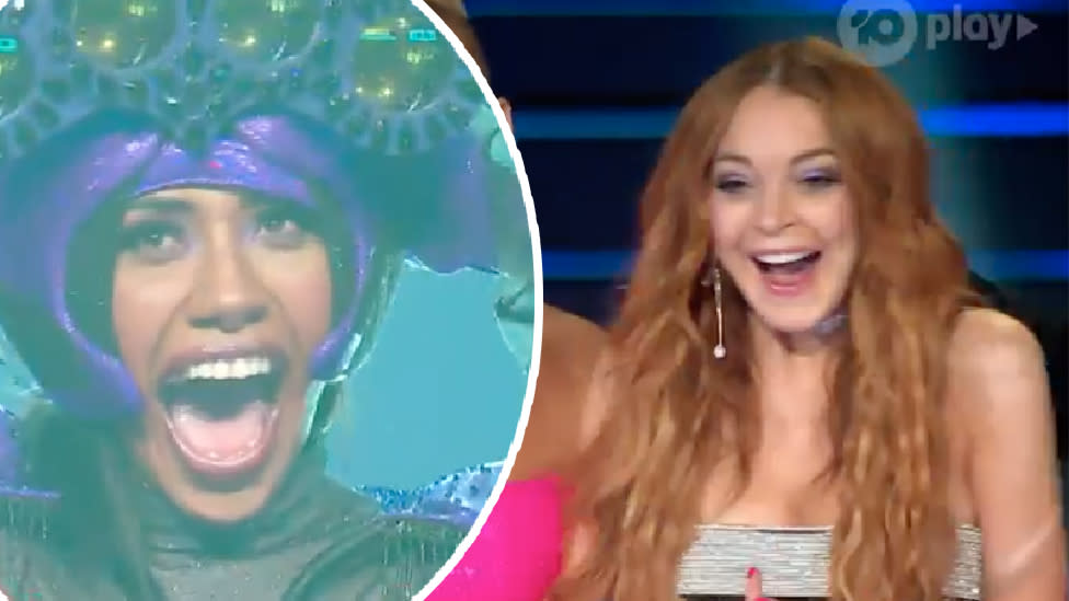 Mayhem as Lindsay correctly guesses Aussie icon on The Masked Singer