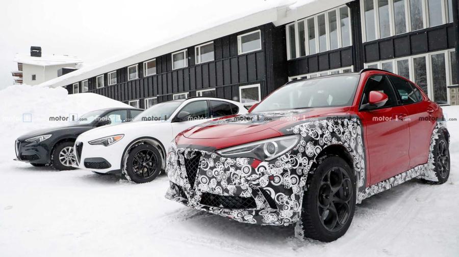 Alfa Romeo Stelvio fleet spied with strange camo, interior update