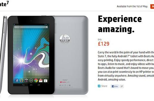 HP's Slate 7 set to hit UK on May 1st for £129