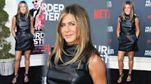 Jennifer Aniston, 50, defies her years in a tight leather mini dress on red carpet