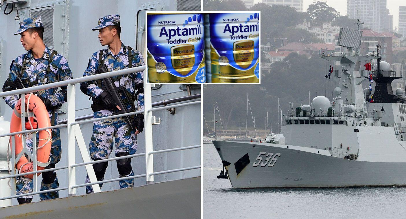 Chinese soldiers snapped loading baby formula on to warships
