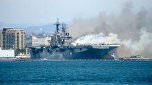 Spectaculaire incendie à bord de l'USS Bonhomme Richard, un navire militaire en Californie