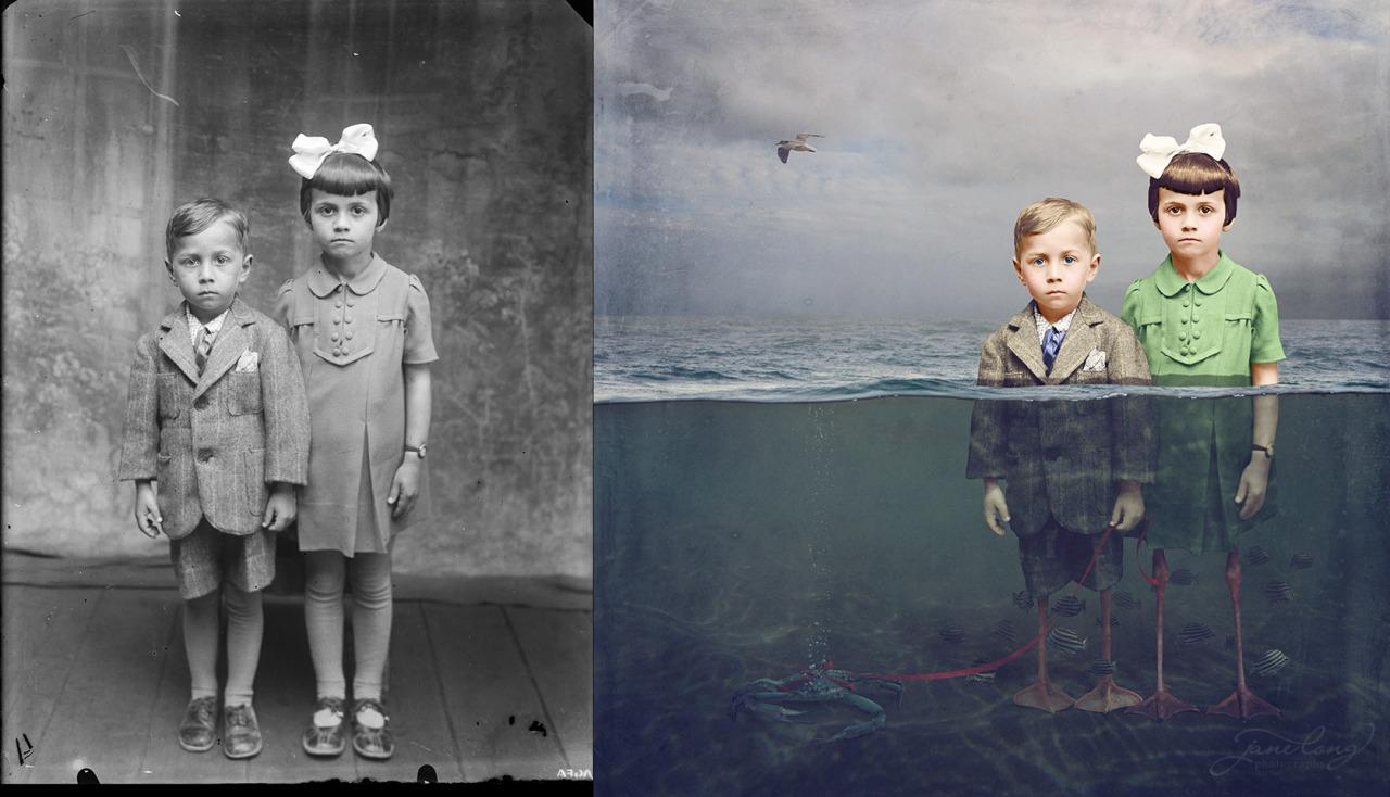 """<p>Half duck-half child, these two kids are ready for fun on both land and sea. The underwater image is from artist <a href=""""https://www.facebook.com/tracywilliamsphotographyart"""" rel=""""nofollow noopener"""" target=""""_blank"""" data-ylk=""""slk:Tracy Williams"""" class=""""link rapid-noclick-resp"""">Tracy Williams</a>. Photo: Jane Long</p>"""