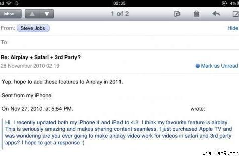 """Steve Jobs """"hopes"""" AirPlay will support Safari and third-party apps next year"""