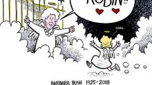 Cartoonist pays emotional tribute to Barbara Bush and her daughter who died at age 3