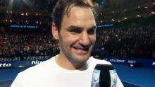 Roger Federer blushes over female pundit's curly question