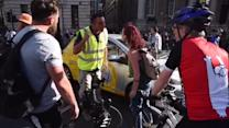 Man shouts at cyclists holding Bank vigil for dead rider