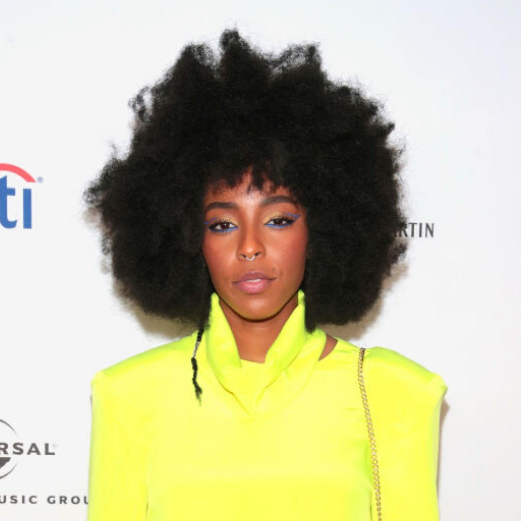 """Dickey also loves a rounded 'fro with fringe, such as this one on the gorgeous Jessica Williams. """"What's hot about this longer cut is that the nape has been kept short while the top is allowed to flourish,"""" he explains. """"And bangs on 4C hair are not only face-framing, but also just as modern as you can get."""""""