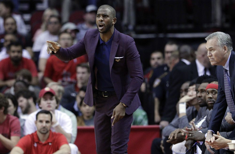 Chris Paul is expected to suit up for just the second time as a Rocket on Thursday. (AP Photo/Michael Wyke)
