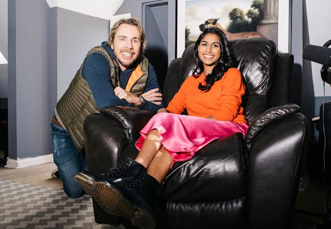 Dax Shepard and Monica Padman seen next to each other, with Monica in an armchair.