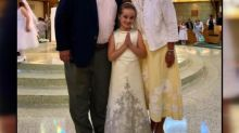 Girl wears First Communion dress made from mom's wedding gown