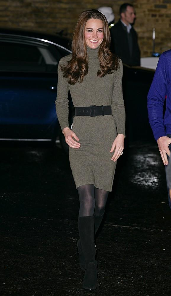 Just before the holidays, the Duke and Duchess visited a homeless charity, Kate in a simple Ralph Lauren turtleneck dress.