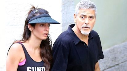 George and Amal Clooney go matchy-matchy for tennis date