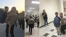 Sheriff's deputies walk fallen officer's 9-year-old to class on first day of school