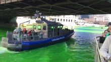 Chicago River dyed green for St Patrick's Day