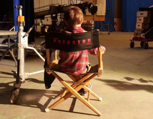 Jacob Tremblay on the set of 'The Predator'