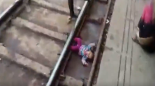 Uttar Pradesh: One-Year-Old Girl Escapes Unhurt After Passenger Train Runs Over Her at Mathura Railway Station; Watch Video