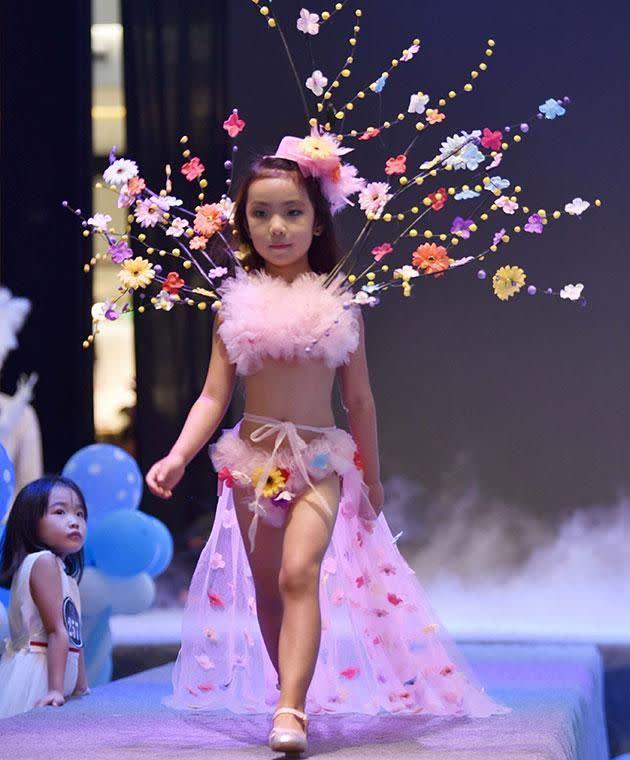 Little Girls Model Lingerie in 'Victoria's Secret' Style Show