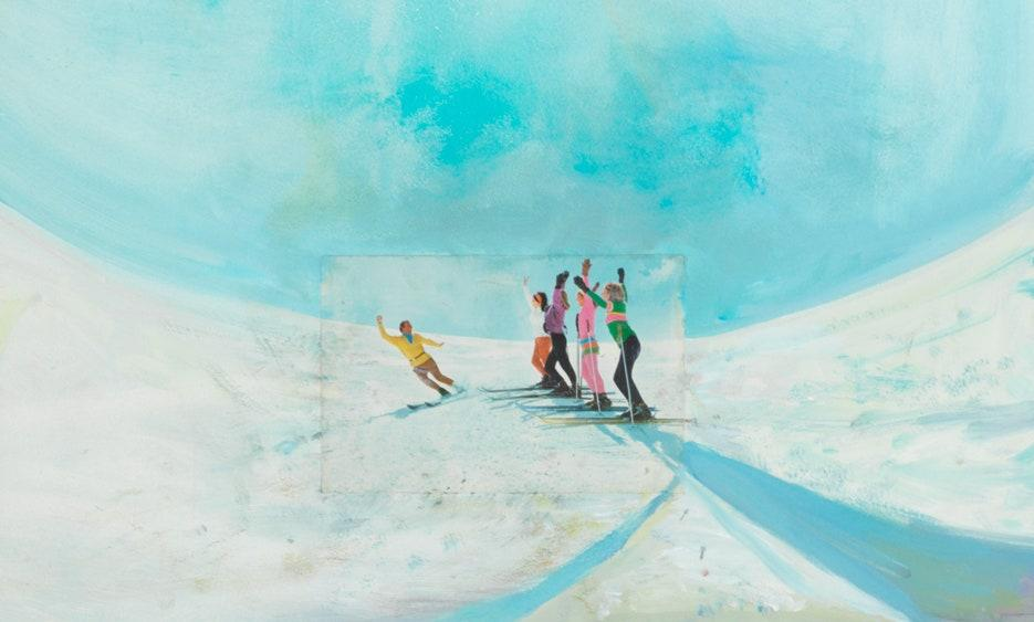 """""""The ski instructor scene in the upper middle of the painting is the ta-da moment. Otherwise it's a lot of landscapes and scenes."""""""