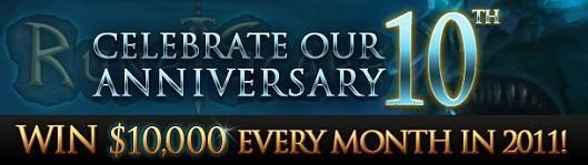 Celebrate RuneScape's 10th anniversary with $10,000 in prizes every month