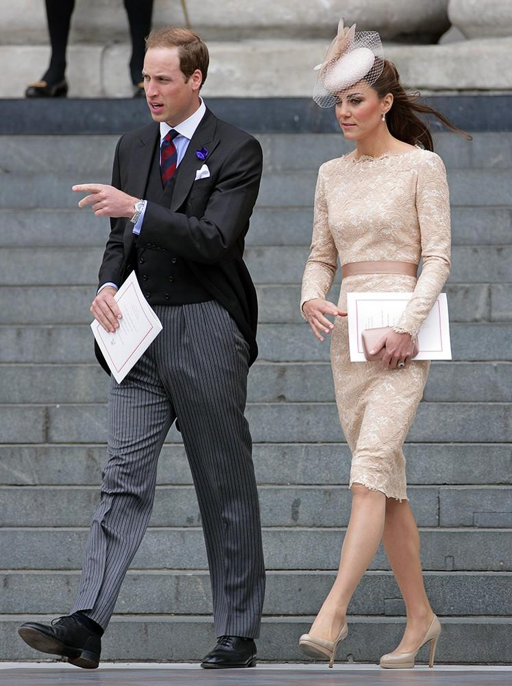 The Diamond Jubliee continues, and Kate is seen in a nude lace Alexander McQueen dress with a Jane Taylor fascinator.