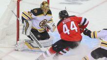 Bruins' Tuukka Rask has great reaction to Miles Wood running him over twice in opener