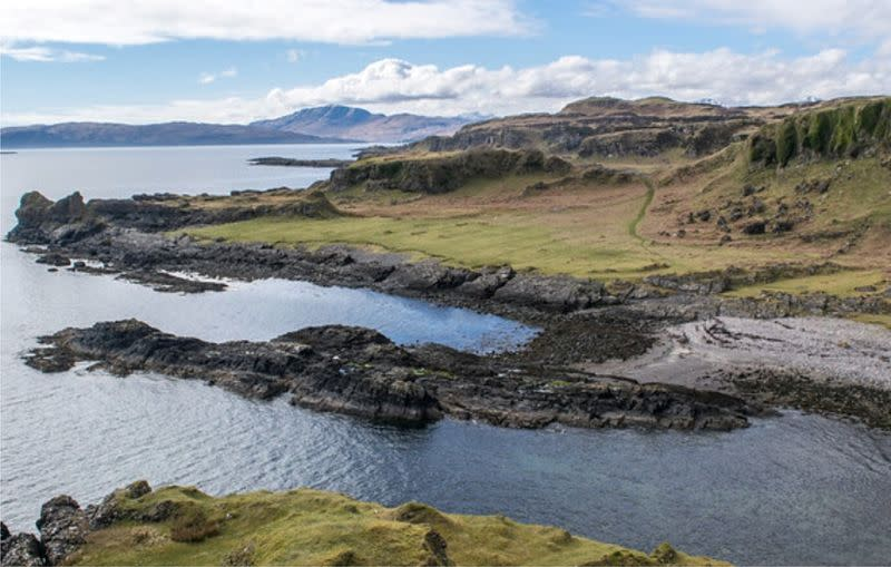 Coastline of Kerrera where a fossil was found