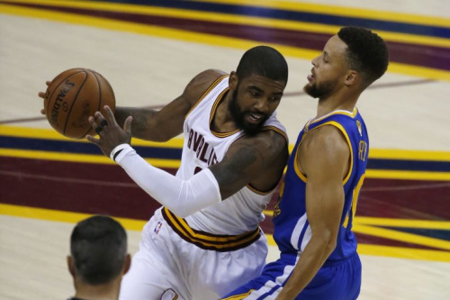 Kyrie Irving and the Cleveland Cavaliers looked tired to end Game 3. (AP)