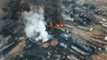 Aerials show huge blaze after oil facility strike in Syria