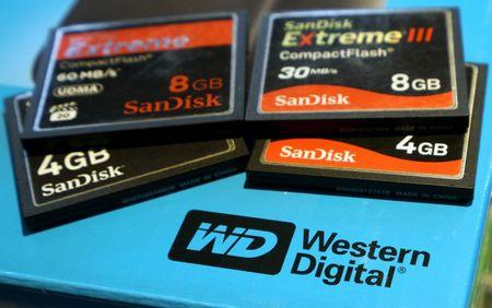 A variety of SanDisk memory cards are seen with a Western Digital hard drive box in Golden, Colorado in this photo illustration October 21, 2015 file photo. REUTERS/Rick Wilking