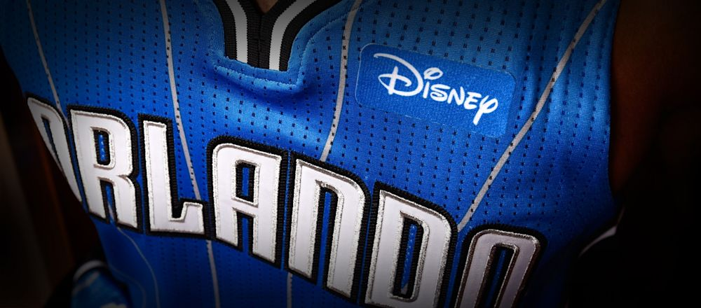 A closer look at the Orlando Magic's Disney ad jersey patch. (Matt Stroshane/Walt Disney World)