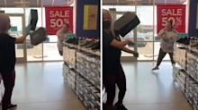 'That's assault': Woman hurls shoe boxes at worker in 'face mask' spat