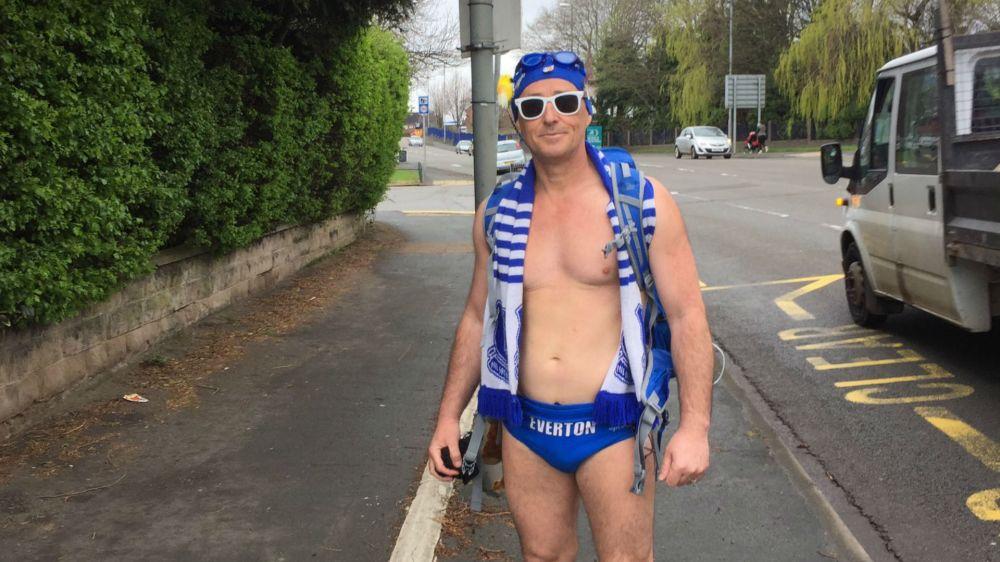Everton fan Speedo Mick's brilliant stunt for charity