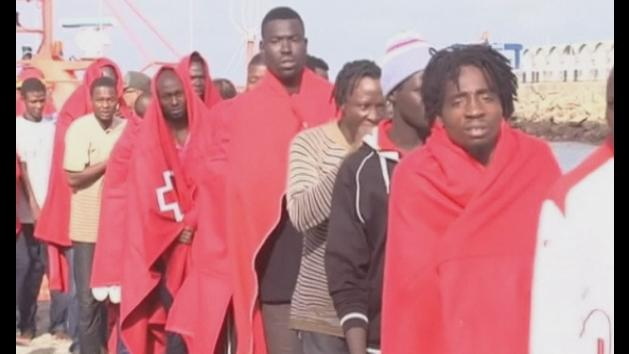 Illegal immigrants from Africa rescued from inflatable rafts