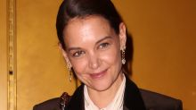 Katie Holmes Masters Waist-Up Dressing In Mom Jeans, a Blouse & Tuxedo Vest For a Zoom Call