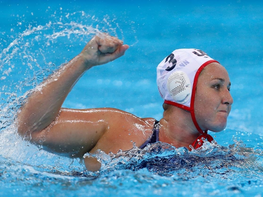 Melissa Seidemann of the United States celebrates after scoring a goal against Australia during their women's semifinal water polo match at the 2012 Summer Olympics, Tuesday, Aug. 7, 2012, in London