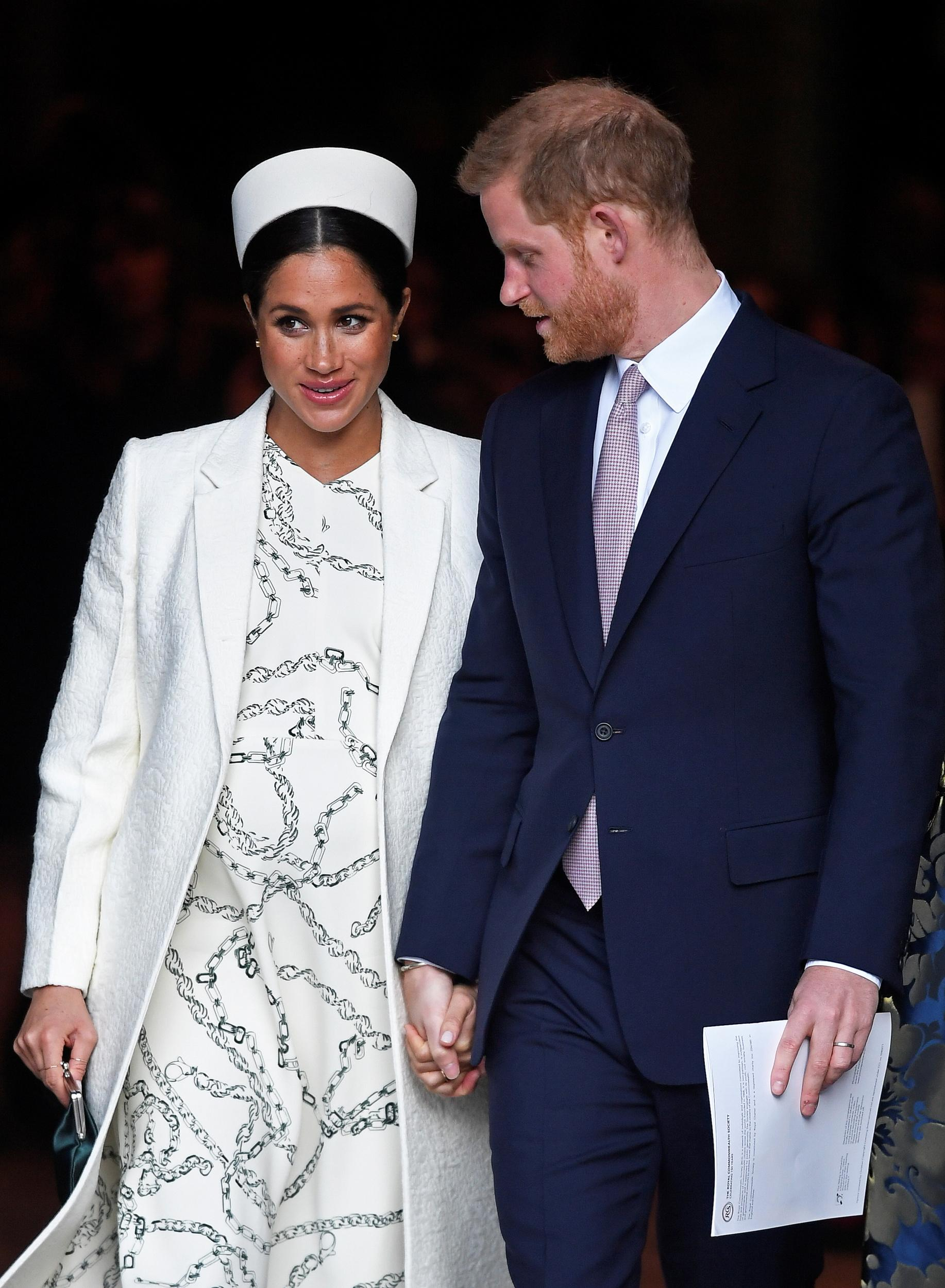 Britain's Prince Harry and Meghan, Duchess of Sussex leave after the Commonwealth Service at Westminster Abbey, on Commonwealth Day, in London, Britain March 11, 2019.  REUTERS/Toby Melville