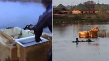 Two men drown while rowing across lake in old fridge