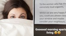 Neighbour's note after woman's X-rated night: 'Close the window'
