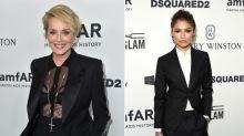 Duelo de looks andróginos en la gala amfAR: Sharon Stone vs. Zendaya