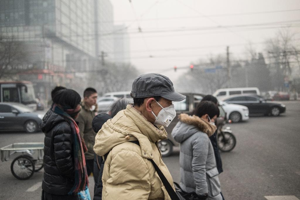 Pedestrians wear masks on a polluted day in Beijing on November 30, 2015 (AFP Photo/Fred Dufour)
