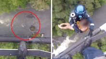 Dramatic moment teens are rescued after being swept away while swimming
