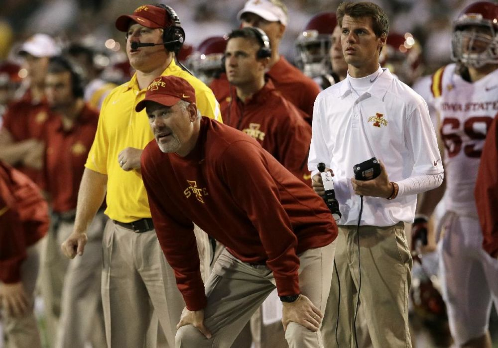 Iowa State head coach Paul Rhoads,, center, watches as Baylor kicks a extra point in the first half of an NCAA college football game, Saturday, Oct. 19, 2013, in Waco, Texas