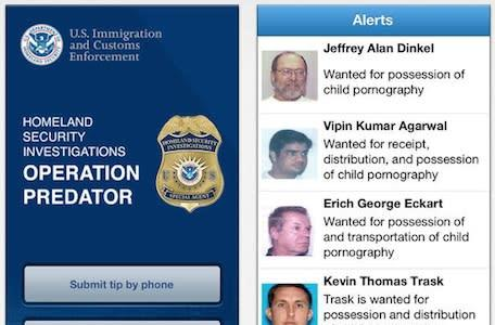 iOS app from US Immigrations and Customs Enforcement designed to hunt down child predators