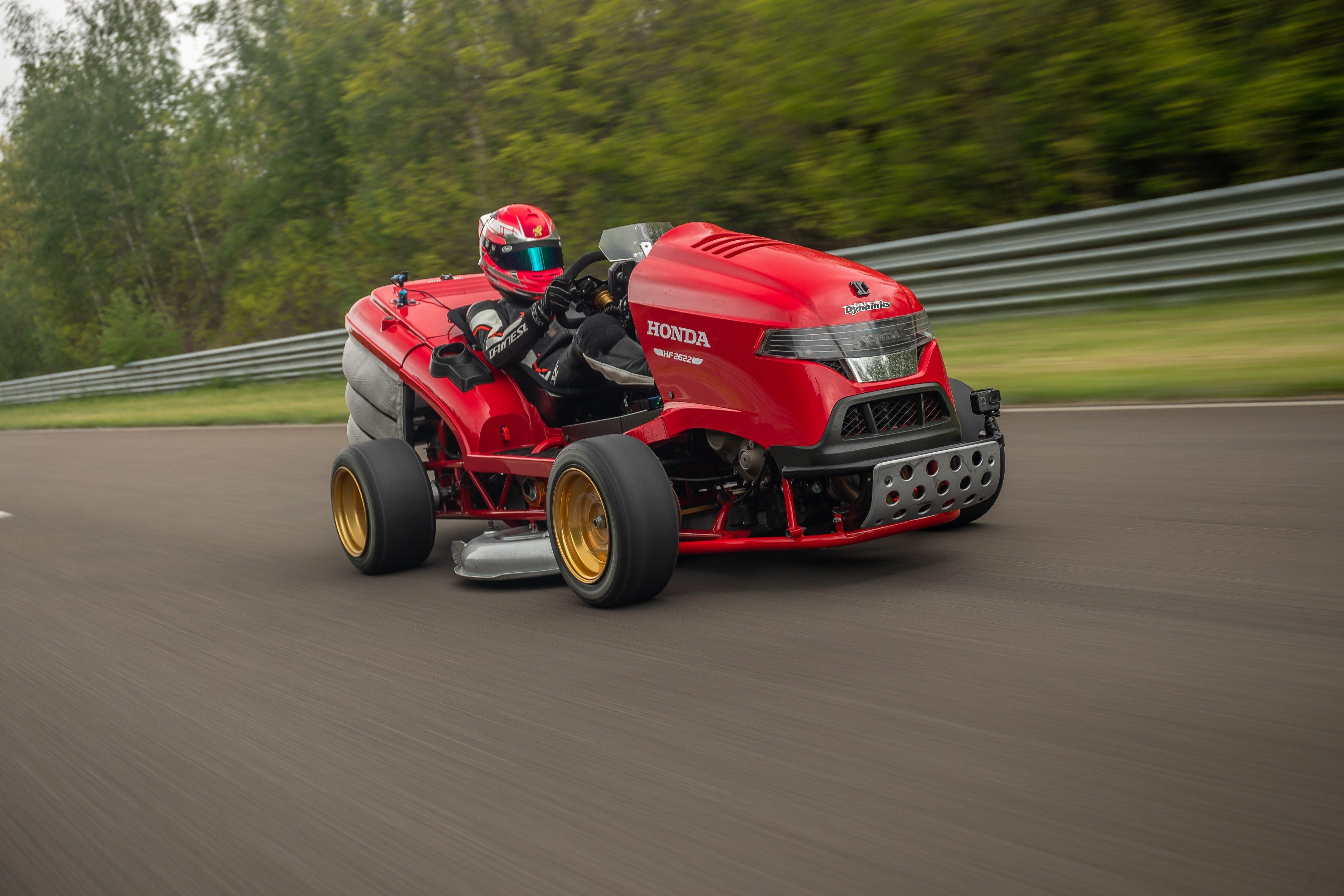 Lean, mean, grass-cutting machine: Honda breaks record for fastest lawnmower acceleration